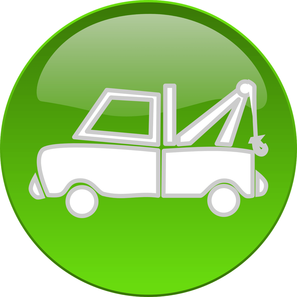 Should you tip tow truck drivers? Grey and white tow truck doodle inside a green circle Image by Clker-Free-Vector-Images from Pixabay